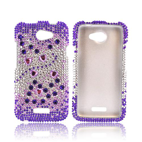 HTC One X Bling Hard Case - Purple Hearts on Purple/ Silver Gems