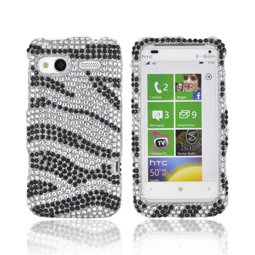 HTC Radar 4G Bling Hard Case - Black Zebra on Silver Gems
