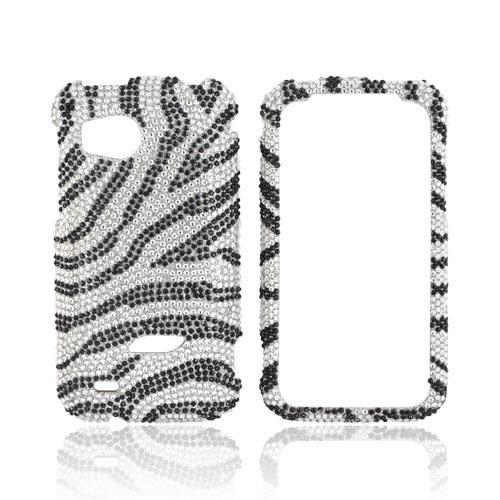 HTC Rezound Bling Hard Case - Black Zebra on Silver Bling