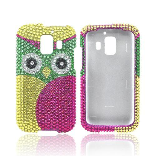 AT&T Fusion 2 U8665 Bling Hard Case - Green/ Hot Pink Owl Design