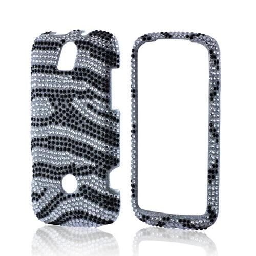 Black/ Silver Zebra Bling Hard Case for Huawei myTouch Q 2