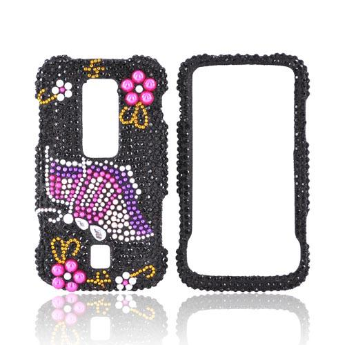 Huawei Ascend M860 Bling Hard Case - Pink/Purple Butterfly on Black Gems