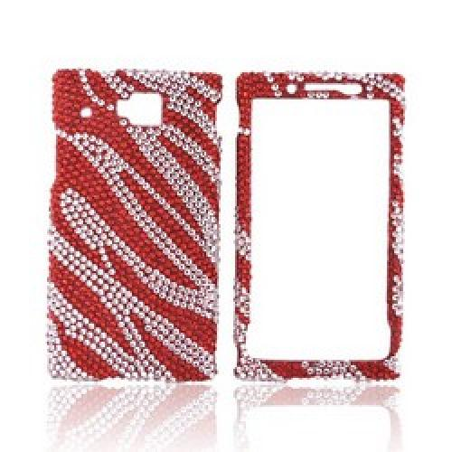 Huawei Ideos X6 Bling Hard Case - Red Zebra on Silver