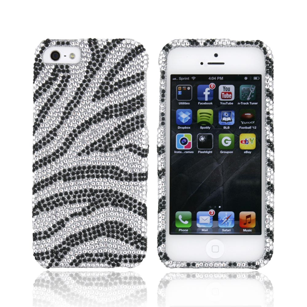 Made for Apple iPhone SE / 5 / 5S Bling Case,  [Black/ Silver Zebra]  Shiny Sparkling Bling Gems Protective Hard Case Cover by Luxmo