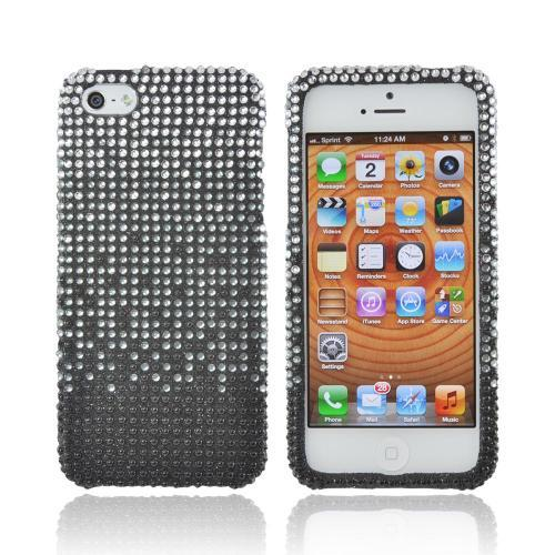 Apple iPhone SE / 5 / 5S Bling Case,  [Silver Waterfall on Black Gems]  Shiny Sparkling Bling Gems Protective Hard Case Cover