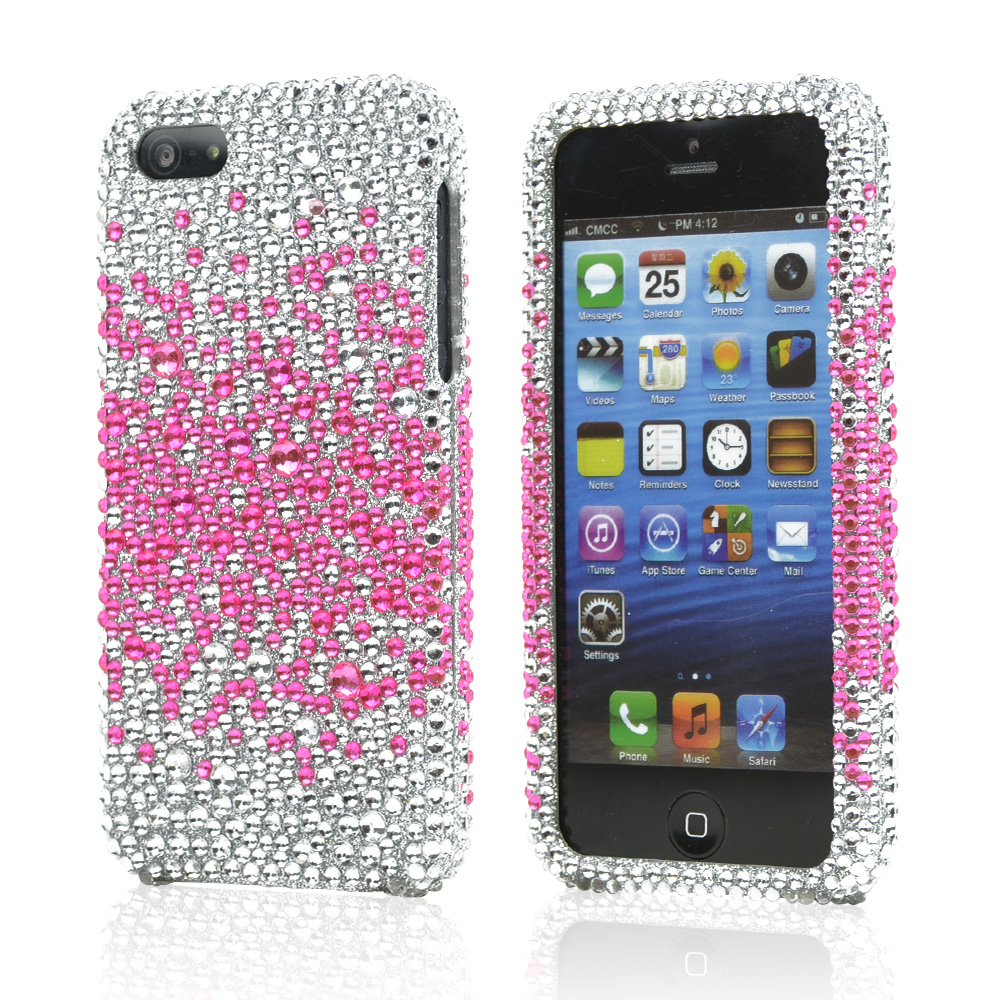 Apple iPhone SE / 5 / 5S Bling Case,  [Hot Pink Splash Gems on Silver]  Shiny Sparkling Bling Gems Protective Hard Case Cover
