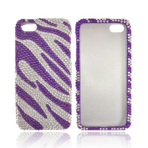 Apple iPhone SE / 5 / 5S Bling Case,  [Purple/ Silver Zebra]  Shiny Sparkling Bling Gems Protective Hard Case Cover