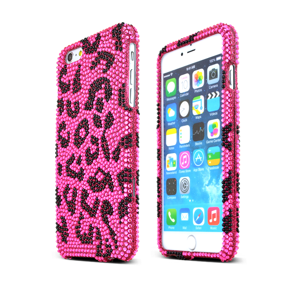 Apple iPhone 6 PLUS/6S PLUS (5.5 inch) Bling Case,  [Black Leopard]  Jeweled Fashion Shiny Sparkling Gems Hard Case Cover