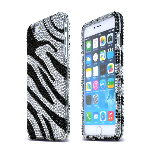 Apple iPhone 6 PLUS/6S PLUS (5.5 inch) Bling Case,  [Black Zebra]  Jeweled Fashion Shiny Sparkling Gems Hard Case Cover