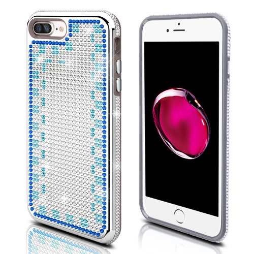 Apple iPhone 8 Plus / 7 Plus / 6S Plus / 6 Plus Case, Diamante [Czech Crystal-Encrusted] TUFF Contempo Hybrid Bling Protector Cover [Silver w/ Blue & Aqua Gradient] with Travel Wallet Phone Stand