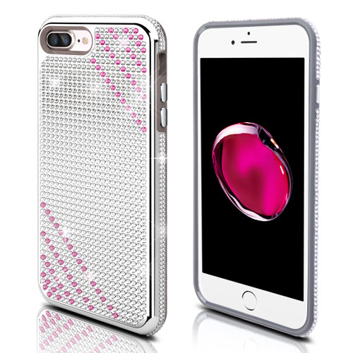 Made for Apple iPhone 8 Plus / 7 Plus / 6S Plus / 6 Plus Case, Diamante [Czech Crystal-Encrusted] TUFF Contempo Hybrid Bling Protector Cover [Silver w/ Hot Pink Stripes] with Travel Wallet Phone Stand by Redshield