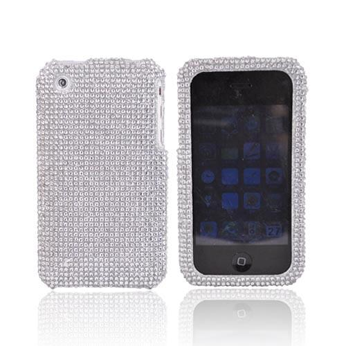 Apple iPhone 3GS 3G Bling Hard Case - Silver Gems on Silver