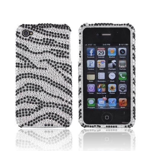 Apple Verizon/ AT&T iPhone 4, iPhone 4S Bling Hard Case - Zebra Silver/Black