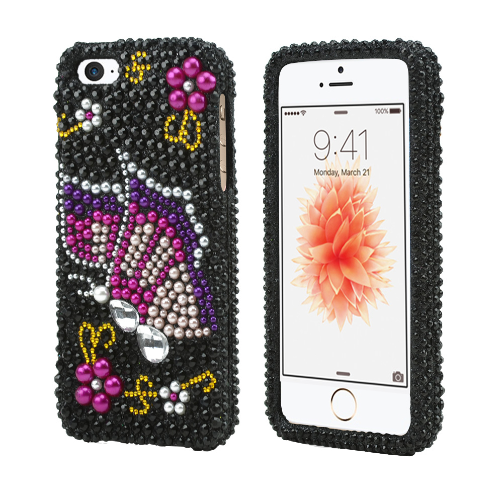 Apple iPhone SE/5/5S Bling Case,  [Pink/ Purple Butterfly on Black Gems]  Shiny Sparkling Bling Gems Protective Hard Case Cover