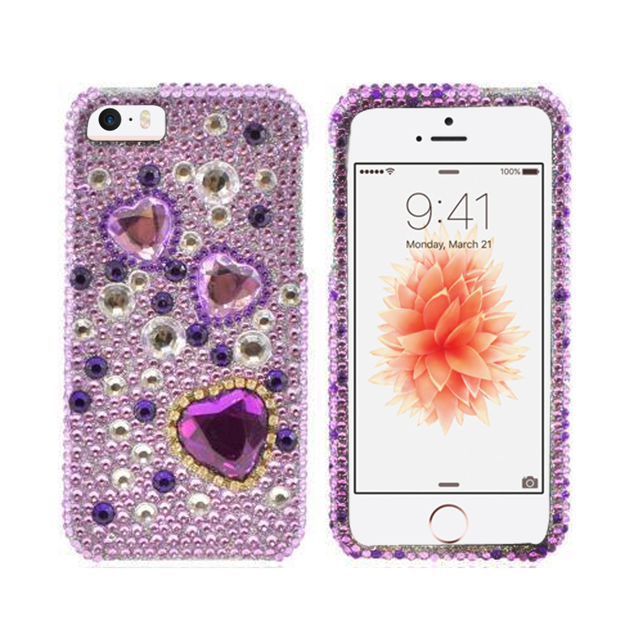 Apple iPhone SE/5/5S Bling Case,  [Purple Hearts on Light Purple/ Silver Gems]  Shiny Sparkling Bling Gems Protective Hard Case Cover