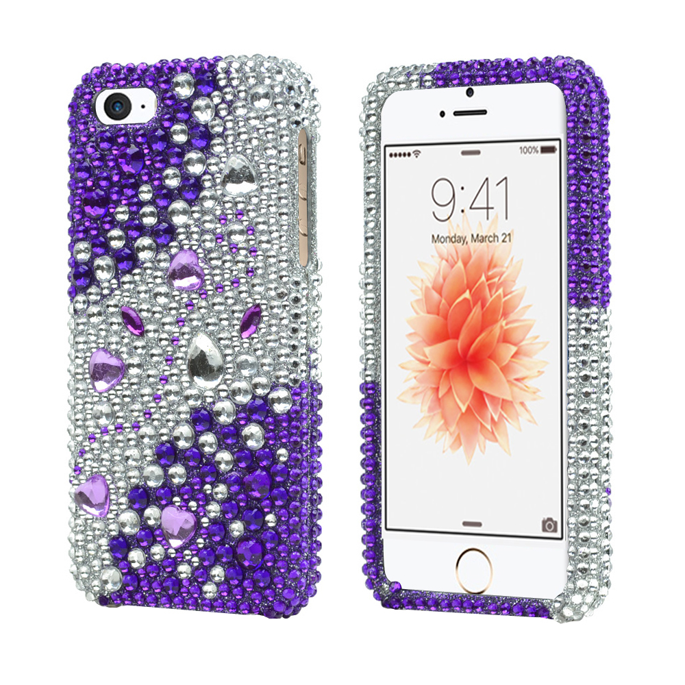 Apple iPhone SE/5/5S  Bling Case,  [Purple/ Silver Rhinestones]  Shiny Sparkling Bling Gems Protective Hard Case Cover
