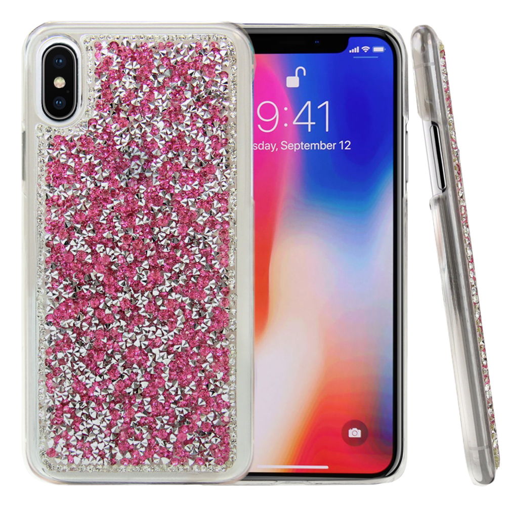 Made for [Apple iPhone X / XS 2018] Bling Case, [Hot Pink] Hard Back Protector Cover Case w/ 3D Rhinestones Diamond Elements by Redshield