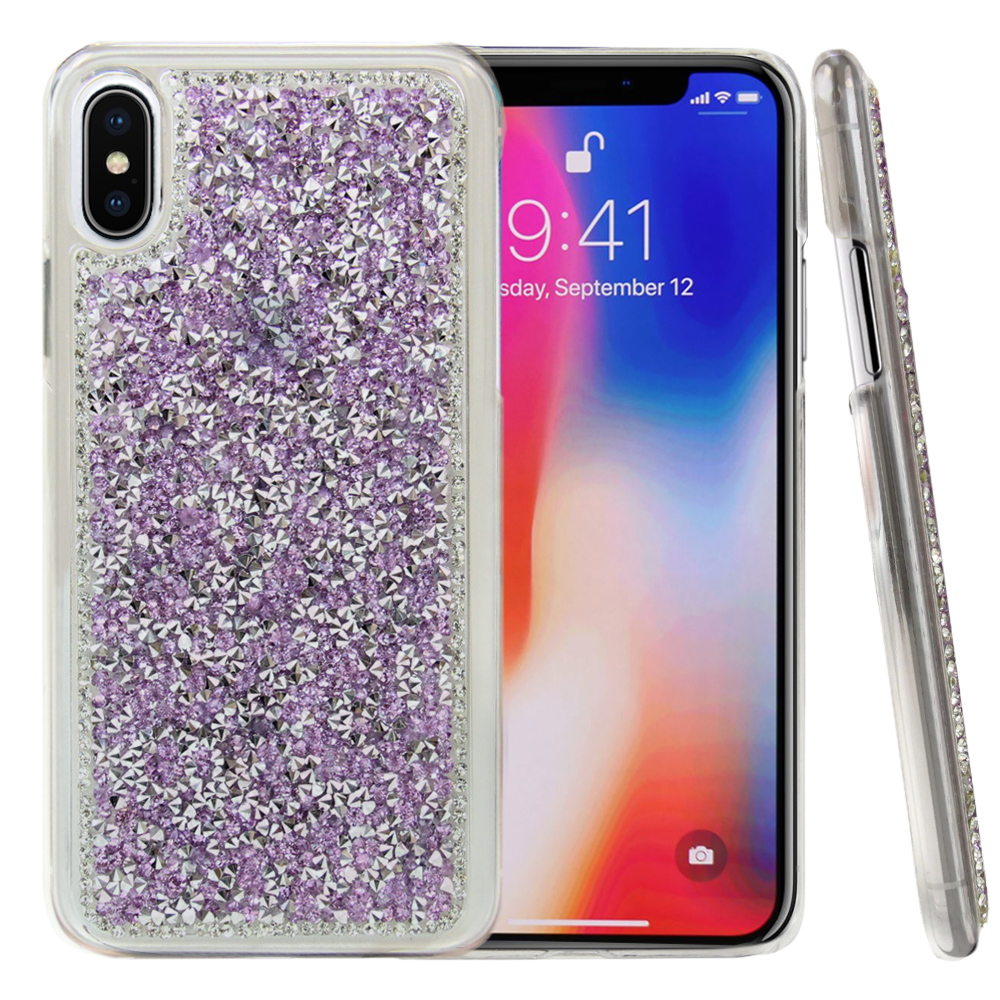 Apple iPhone X Bling Case, [Purple] Hard Back Protector Cover Case w/ 3D Rhinestones & Diamond Elements