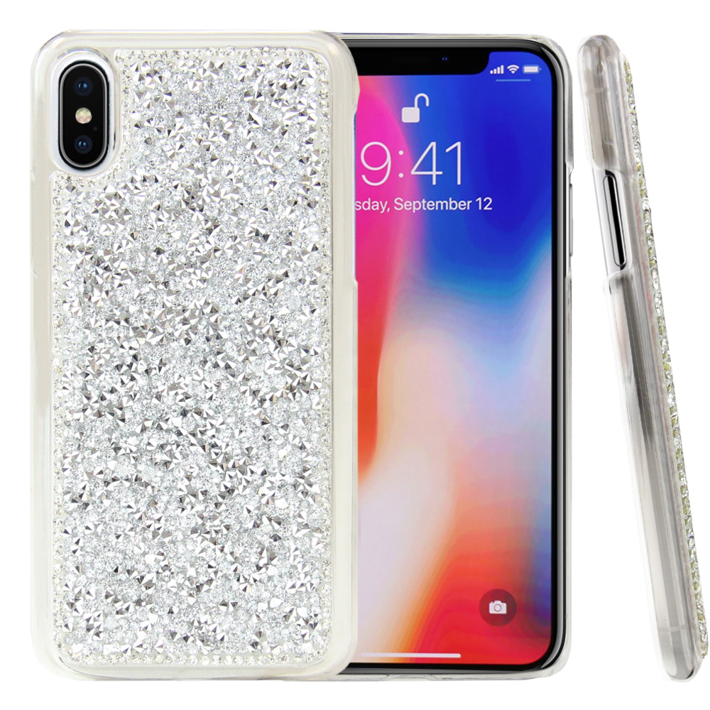 Made for [Apple iPhone X / XS 2018] Bling Case, [Silver] Hard Back Protector Cover Case w/ 3D Rhinestones Diamond Elements by Redshield