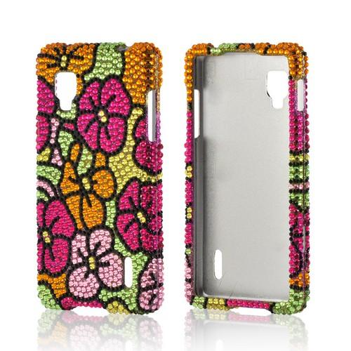 Green/ Hot Pink/ Yellow Hawaiian Flowers Bling Hard Case for LG Optimus G (Sprint)