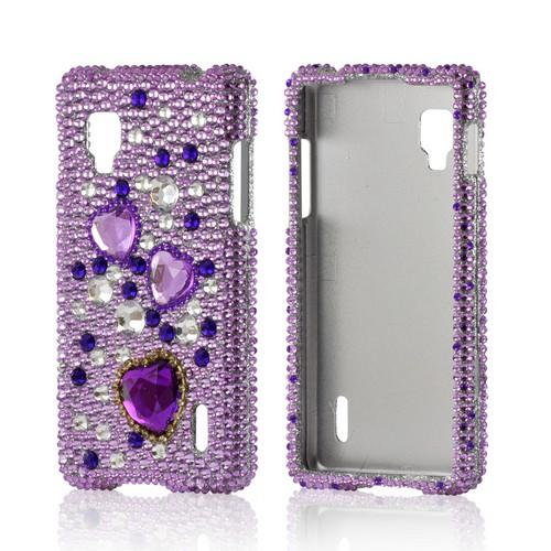 Purple Hearts on Purple/ Silver Gems Bling Hard Case for LG Optimus G (Sprint)