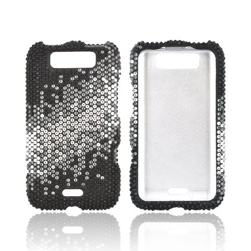 LG Viper 4G LTE/ LG Connect 4G Bling Hard Case - Silver/ Gray Splash on Black Gems (Only Fits Metro PCS Version)