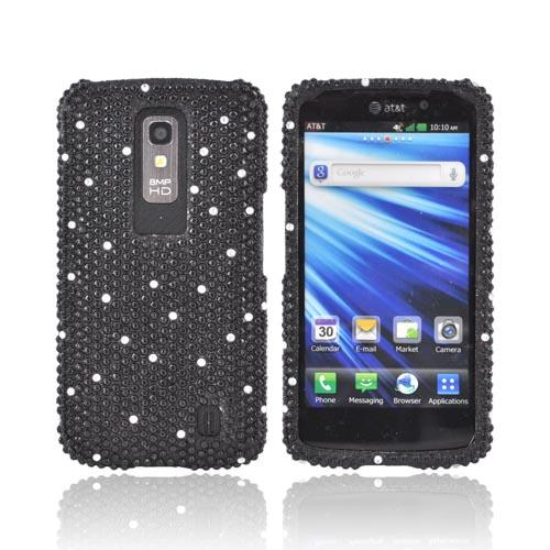 LG Nitro HD Bling Hard Case - Black w/ Silver Gems