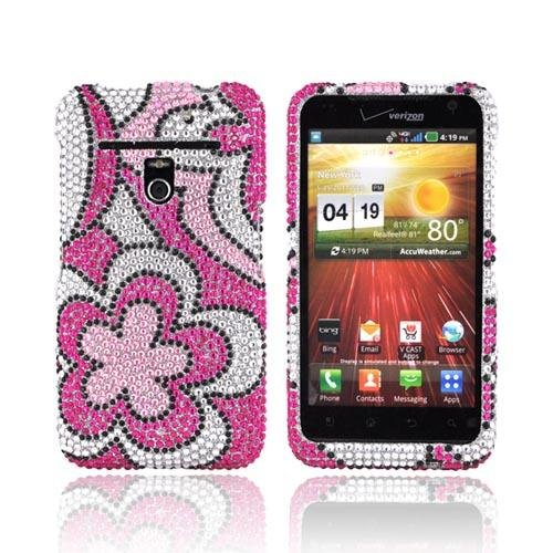 LG Revolution, LG Esteem Bling Hard Case - Hot Pink/ Baby Pink/ Silver Flowers