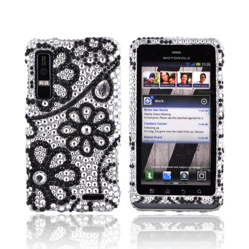 Motorola Droid 3 Bling Hard Case - Black Lace Flowers on Silver Gems