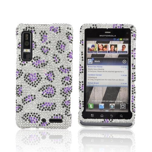 Motorola Droid 3 Bling Hard Case - Purple/ Black Leopard on Silver Gems