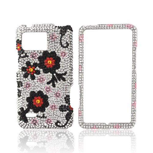 Motorola Droid Bionic XT875 Bling Hard Case - Black/ Red Daisies on Silver Gems
