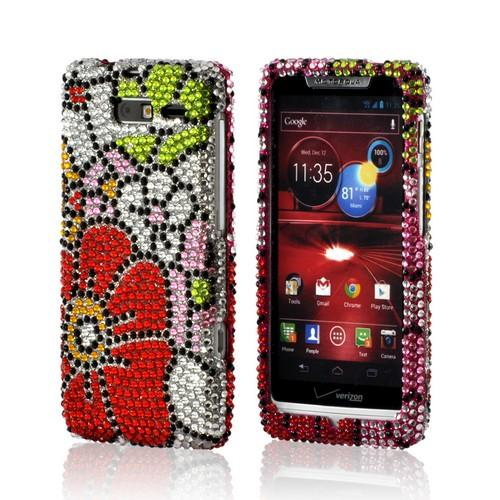 Green/ Red/ Pink Hawaiian Flowers Bling Hard Case for Motorola Droid RAZR M