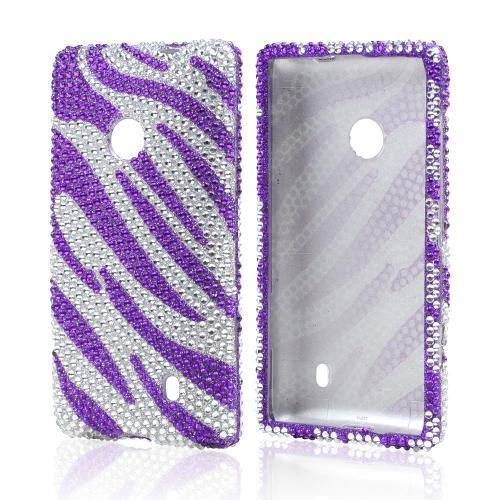 Purple/ Silver Zebra Bling Hard Case for Nokia Lumia 521