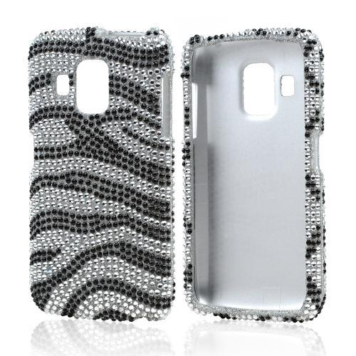 Black Zebra on Silver Gems Bling Hard Case for Pantech Perception