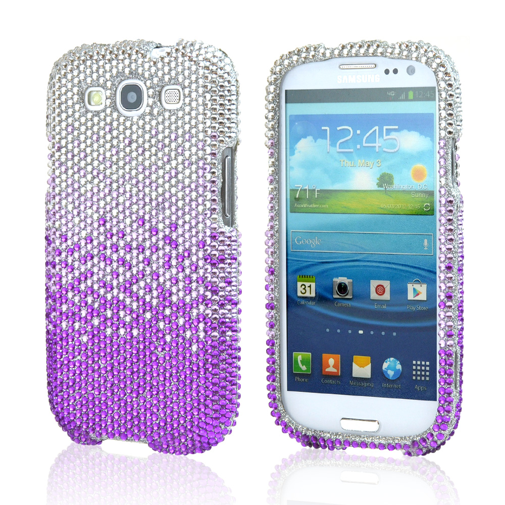 Samsung Galaxy S3 Bling Hard Case - Purple/ Lavender Waterfall on Silver Gems