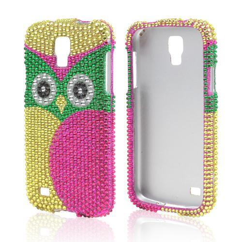 Green/ Hot Pink/ Yellow Owl Bling Hard Case for Samsung Galaxy S4 Active