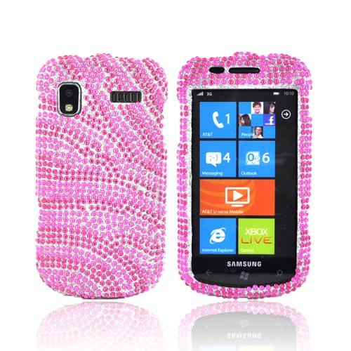 Samsung Focus i917 Bling Hard Case - Hot Pink Zebra