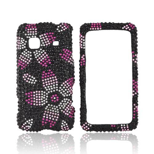 Samsung Galaxy Prevail M820 Bling Hard Case - Magenta/ Baby Pink/ Silver Flowers on Black Gems