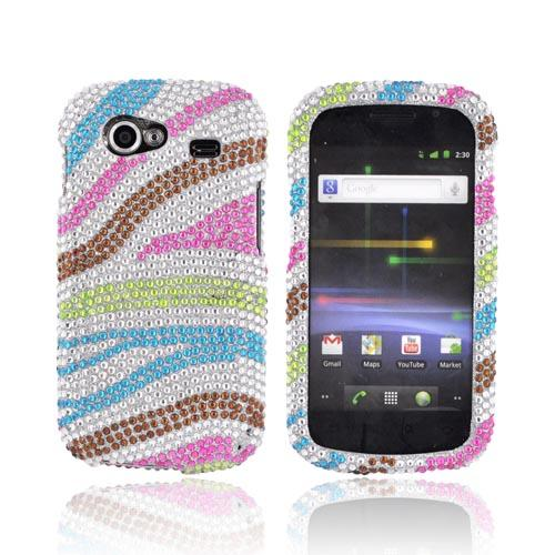 Google Nexus S Bling Hard Case - Rainbow Zebra on Silver Gems