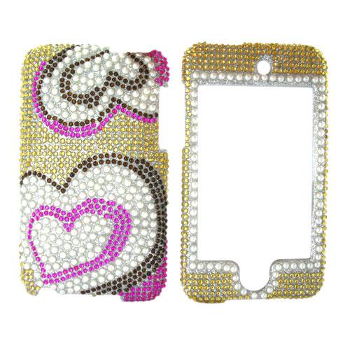 Apple iPod Touch 2 & 3 Bling Hard Case - Pearl Hearts on Gold Diamonds