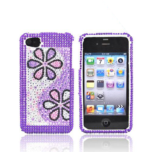 Apple Verizon/ AT&T iPhone 4, iPhone 4S Bling Hard Case - Purple Daisies