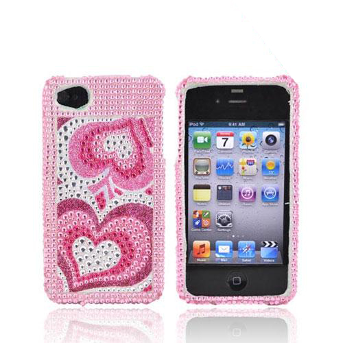 Apple Verizon/ AT&T iPhone 4, iPhone 4S Bling Hard Case - Triple Pink Hearts
