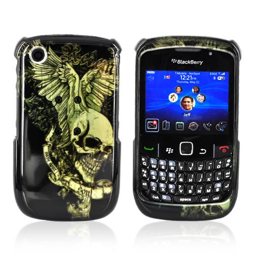 Blackberry Curve 3G 9330, 9300, 8520, 8530 Hard Case - Skull Wing on Black