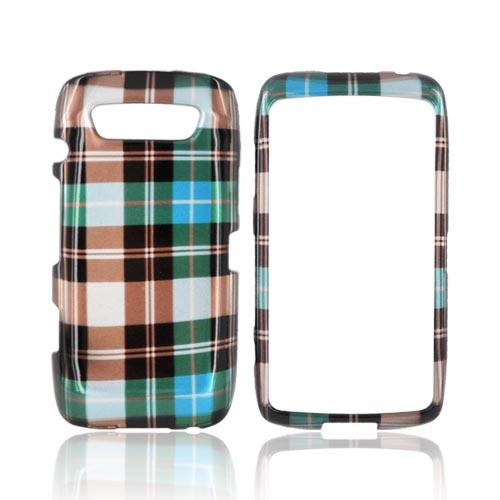 Blackberry Torch 9850 Hard Case - Plaid Pattern of Blue, Brown, & Silver