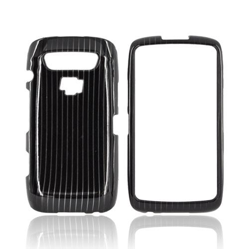 Blackberry Torch 9850 Hard Case - Silver Lines on Black