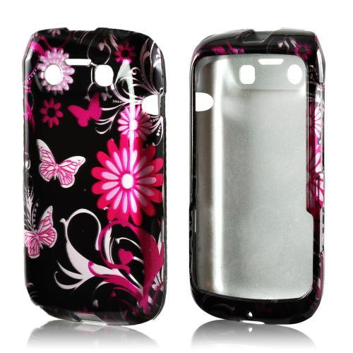 Pink Flowers & Butterflies on Black Hard Case for Blackberry Bold 9790
