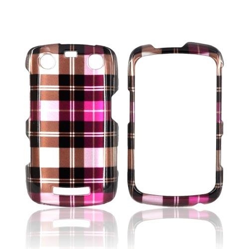 Blackberry Curve 9360/ Apollo Hard Case - Plaid Pattern of Pink, Hot Pink, Brown, & Gray