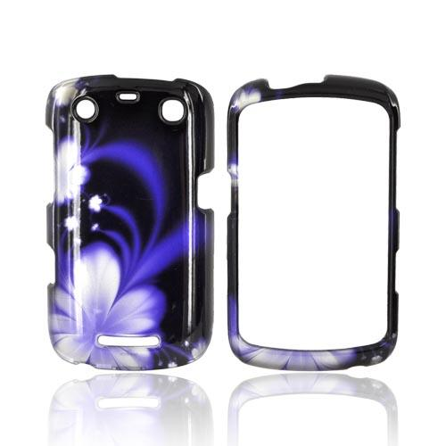 Blackberry Curve 9360/ Apollo Hard Case - Purple Flowers on Black