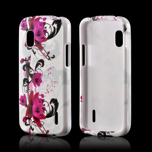 Magenta Flowers & Black Vines on White Hard Case for LG Google Nexus 4