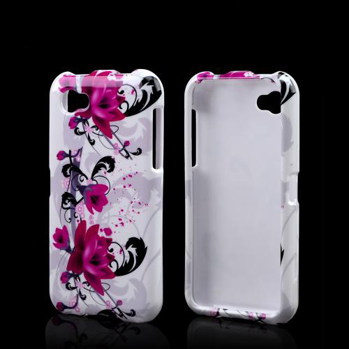 Magenta Flowers & Black Vines on White Hard Case for HTC First